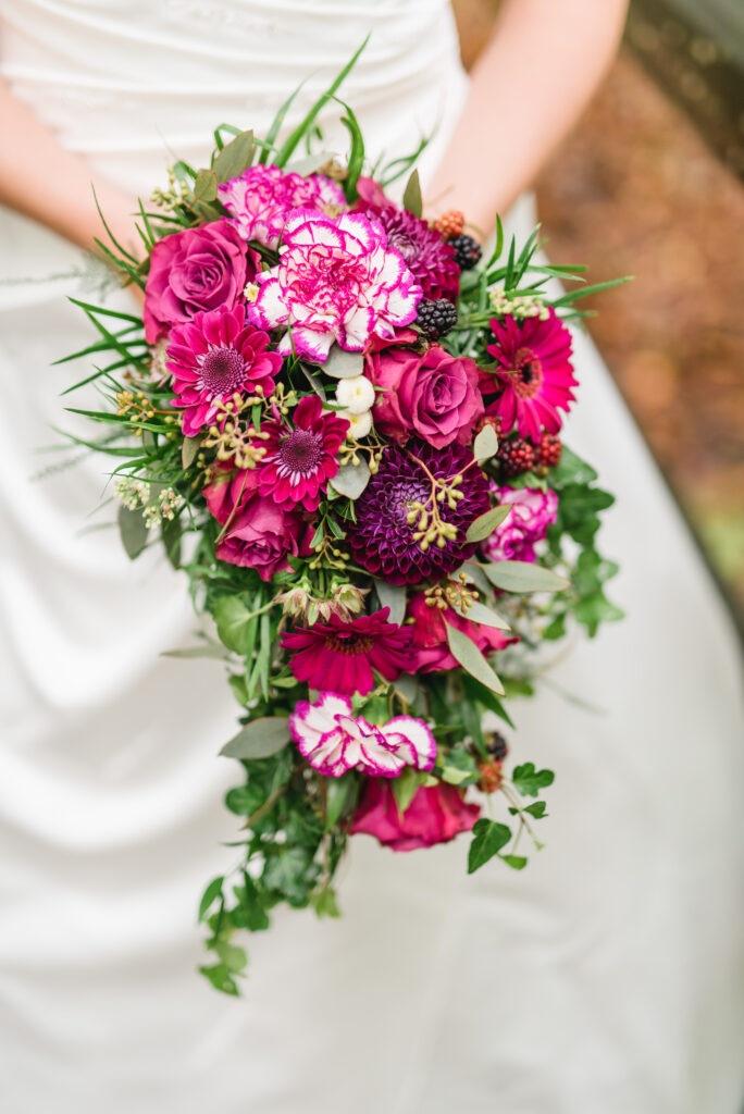 Brautstrauß pink | Blumenstrauß Hochzeit | Strauß & Fliege