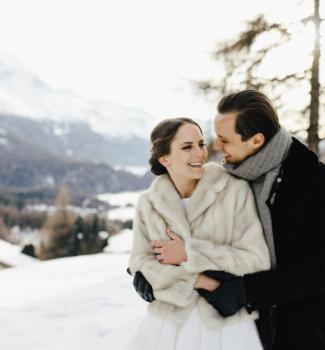 Freie Trauung im Schnee | Winterhochzeit | Strauß & Fliege